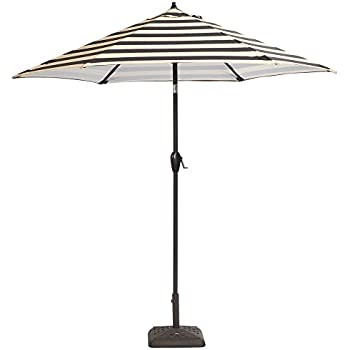 Aluminum Patio Umbrella In Black Cabana Stripe With Tilt