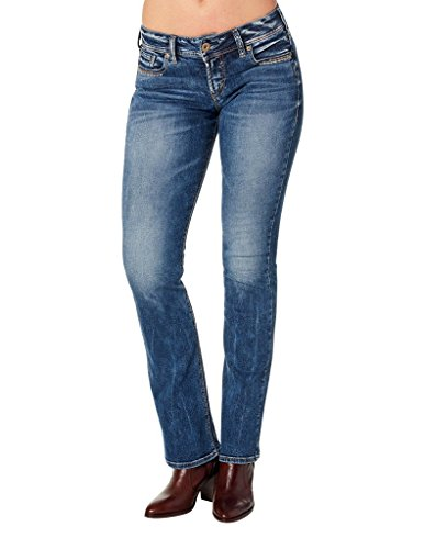 Silver Jeans Co. Women's Suki Curvy Fit Mid Rise Slim Bootcut Jeans, Mid Wash Indigo, 30x33