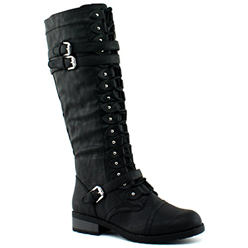 Wild Diva Timberly-65 Women's Fashion Lace Up Buckle Knee High Combat Boots, TPS Timberly-65 v5 Black Size 10 - Junior Boots