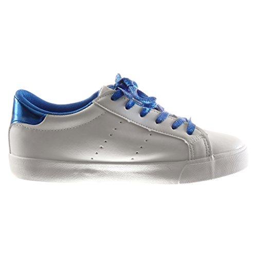 Angkorly - damen Schuhe Sneaker - Stern - bestickt flache Ferse 2.5 CM - Weiß