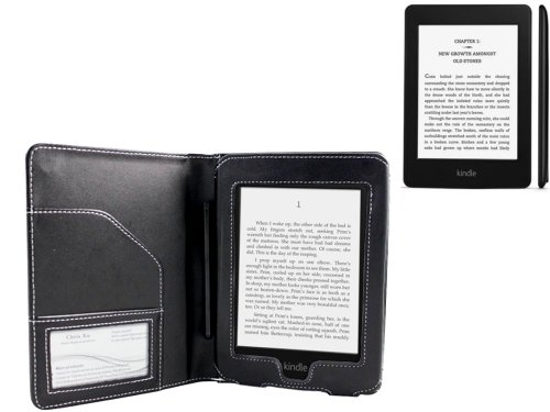 Napa Leather Flip Case (Navitech Genuine Black Napa Leather Flip Open Book Style Carry Case Cover for the Amazon Kindle Paperwhite & Kindle Paperwhite 3G 6 Inch E-reader Touch Device (September 2012)