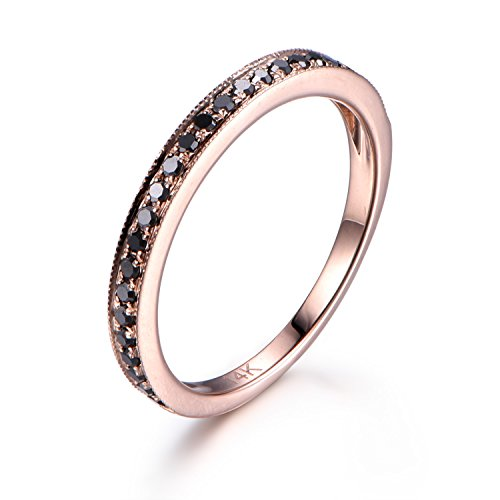 Black Diamond Wedding Band For Women Black Diamond Ring 14K Rose Gold Half eternity Ring Milgrain