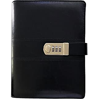 "Business Binder Journal With Combination Lock A5, 9"" X 6.7"", Excutive Diary With Passcode PU Leather Is A Refillable Leather Journal"