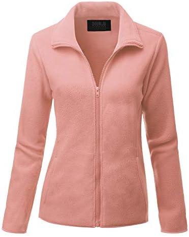 Doublju Womens Long Sleeve Full-Zip Poly Fleece Thermal Basic Jacket