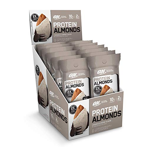 Optimum Nutrition Protein Almonds Snacks, On The Go Nutrition, Flavor: Cookies & Cream, Low Sugar, Made with Whey Protein Isolate, 12 Count