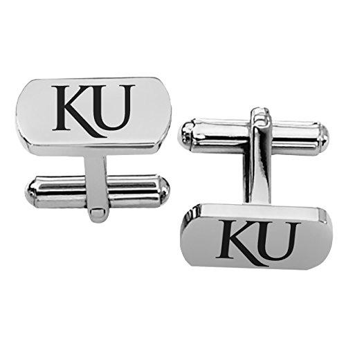 Kansas Jayhawks Cufflinks (Kansas Jayhawks Rectangular Shape Stainless Steel Cufflinks)