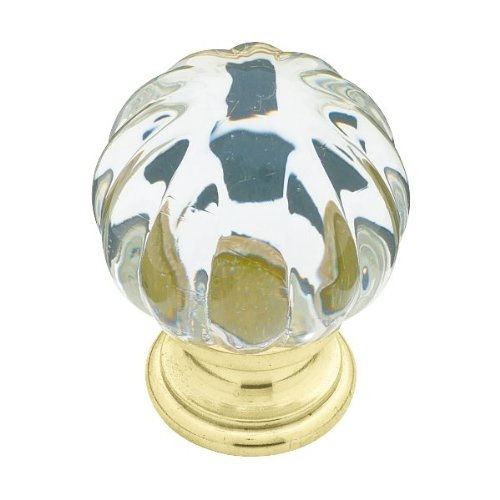 Liberty P30104-CL-C 1-1/4-Inch Sculpted Glass Knob with Brass Base