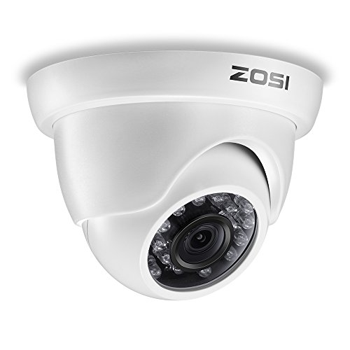 ZOSI 720P 4-in-1 TVI/CVI/AHD/CVBS Security Surveillance CCTV HD Camera Outdoor Weatherproof Day Night Vision 65ft IR Distance White (For HD-TVI, AHD, CVI, and CVBS/960H analog DVR System)