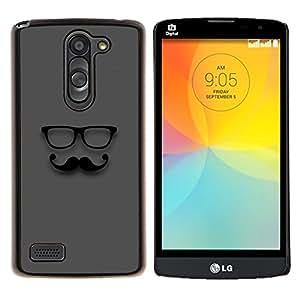 LECELL--Funda protectora / Cubierta / Piel For LG L Bello L Prime -- gafas de bigote gris señor inconformista --