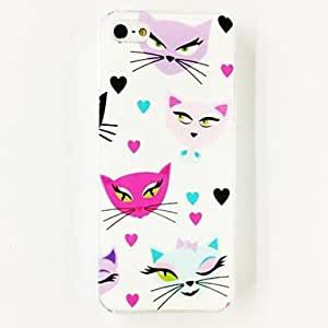 SJT Colorful Love Cats Pattern Polycarbonate Hard Case for iPhone 5/5S , Multicolor
