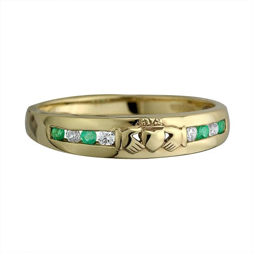 Claddagh Ring 14K Gold 8 Stone Diamond & Emerald Sz 9.5