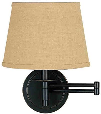 Design Craft Haney Traditional 100 Watts Bronze Fixture Finished with 10-inch Diameter Tan Tapered Drum Shades Wall Swing Arm Lamp