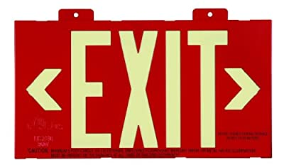 Jessup Glo Brite 7012-B 8-Inch by-15-Inch Double Face Non Electrical, Glow-in-the-dark (Photoluminescent) Eco Exit Sign with Bracket, Red