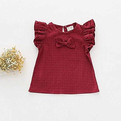 SIZOO - Blouses & Shirts - Girl Shirts Lattice Jacquard Fly Sleeve Shirt Baby Bow Cotton Linen Shirt Girl Summer Shirts Toddler Comfortable Tops Tee (Red 9M)