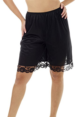 Underworks Pettipants Nylon Culotte Slip Bloomers Split Skirt 9-inch Inseam Large-Black