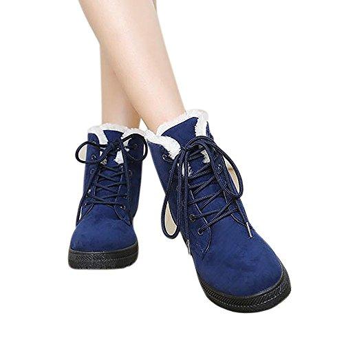 Bumud Donna Inverno Pelliccia Foderato Stivali Da Neve Caldo Scarpe Sneaker Piatto Blu
