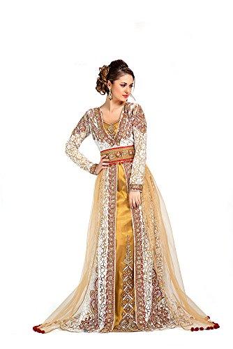 Kolkozy Fashion Women's Exclusive Moroccan Wedding Kaftans Beige Size L ()