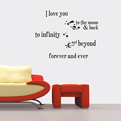 Fange DIY Removable I Love You to the Moon Back to Infinity Love Quotes Art Mural Vinyl Waterproof Wall Stickers Bed Kids Room Decor Livingroom Nursery Decal Sticker Wallpaper 20.9''x20.7'' by Fange (Image #3)