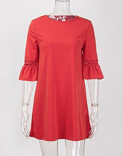 donna in quarti di Red da cuore donna SYT scollo estivo a casual con Vestito Dress Abiti tre rappezzatura a con Vestito flare da maniche pizzo zzIq7F