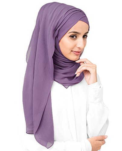 InEssence Grape Compote Poly Chiffon Scarf Women Girls Wrap Medium Size Hijab