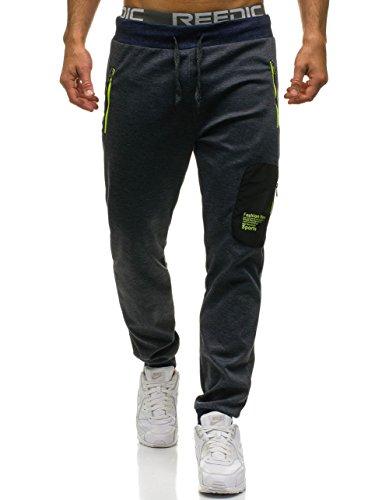 Hombre BOLF Motivo Entrenamiento Fitness Oscuro Deporte Mix 80026 Azul 6F6 Jogger Pantalones dBfqrZBx