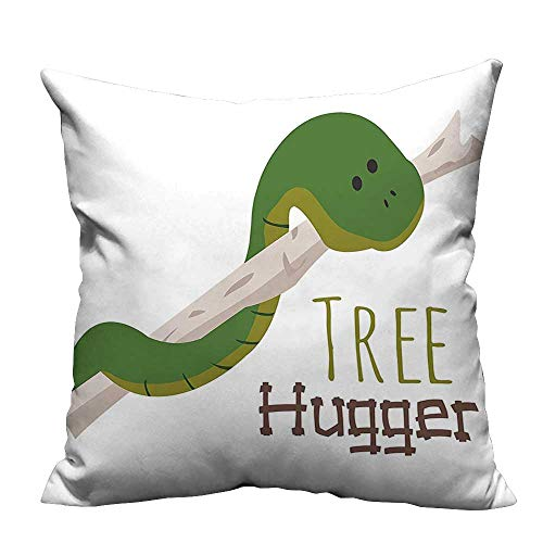 YouXianHome Lovely Cushion Covers Snake Hang from Hugger Love Mascot Humor Reptil Comic Home Green Resists Stains(Double-Sided Printing) 27.5x27.5 inch ()