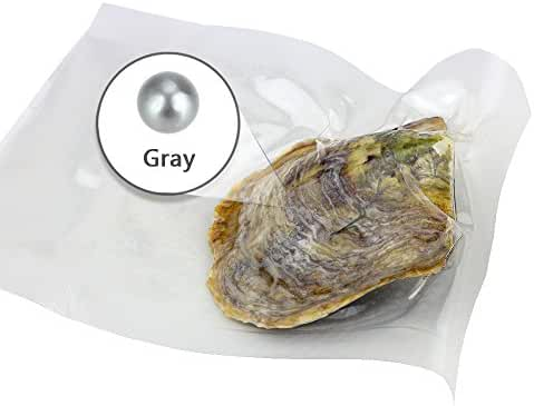 Ny Vacuum Package Akoya Round Cultured Pearl in Oyster 6-7mm 100pcs (Gray)