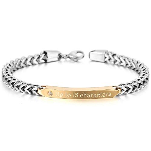 (MeMeDIY Silver Gold Two Tone Stainless Steel Bracelet CZ Link - Customized Engraving)
