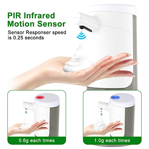 Automatic Soap Dispenser, Touchless Foaming Soap Dispenser Infrared Motion Sensor, Hand Free, Countertop, 15.2oz/450ml Wall Mounted Soap for Bathroom Kitchen Bath Toilet Office Hotel (1-b)