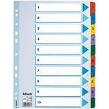 Esselte Mylar- Separadores para archivador (A4, divisiones 1-10), multicolor