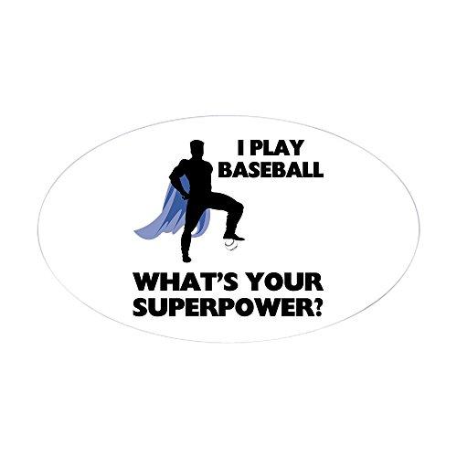 CafePress - Baseball Superhero - Oval Bumper Sticker, Euro Oval Car (Superhero Graduation Cap)