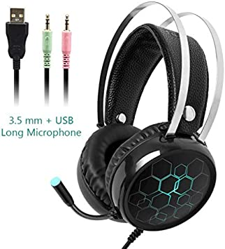 Alician 3.5mm Earphone Gaming Headset Gamer Stereo Gaming Headphone with Microphone LED White and Blue