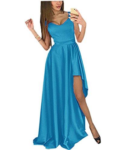 Satin Amore Wedding Women Blue High Dress Vintage Prom Long Gown Evening Slit Bridal wFrXF0O