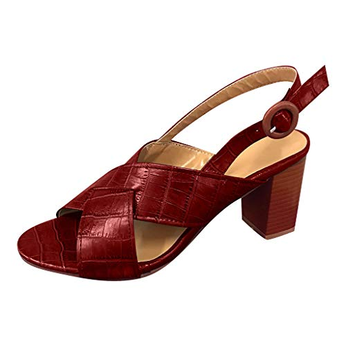 Answerl Womens Open Toe Chunky Heel Ankle Strap Shoes Block High Heel Dress Sandals Vintage Elegant Sandals Red ()