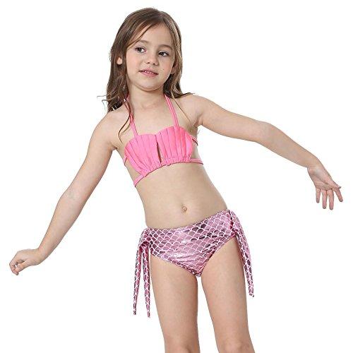 hibote Ninas Sirena Trajes Swimmable Bikini Set Pink-GB02