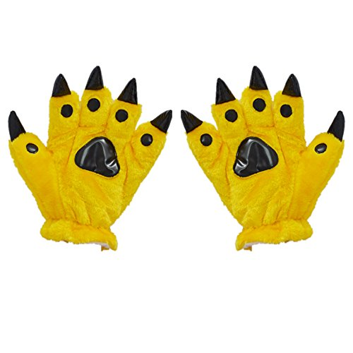 Liaozy888 Anime Halloween Theme Glove Paws Furry Realistic Sharp Claws Tiger Cat Fox Dinosaur Cosplay for Costumes for Kids (Yellow) ()