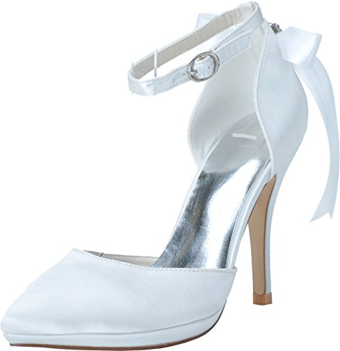 Wedding Job Satin 0255 Pumps Pointed Bride Comfort 28 Work Heeled 37 Nightclub Ladies White OL EU Ankle Platform Toe xYY4qw60
