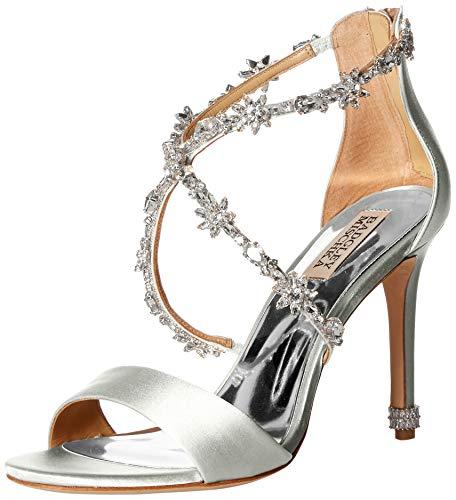 Badgley Mischka Women's Venus Heeled Sandal, Soft White Satin, 9 M US