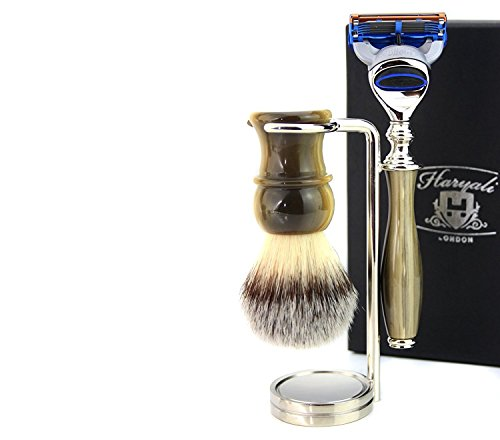 Vintage Style Luxury Shaving Gift Set for Men (Synthetic Hair Brush horn handle,3 Different Type of Razor to Choose Horn handle & Stainless Steel(Chrome)Holder. (Gillette Fusion Razor)