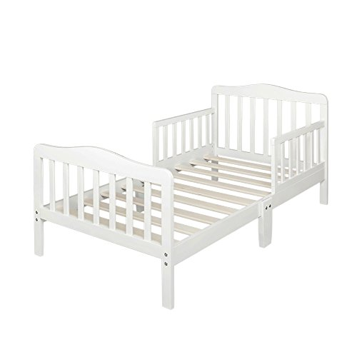 (Bonnlo Contemporary Wooden Toddler Bed Sturdy Bedframe with Guard Rail Bedroom Furniture for Kids Children - White)