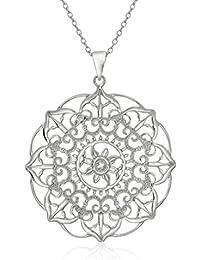"Sterling Silver Large Filigree Flower Pendant Necklace, 18"""