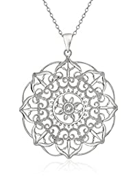 Sterling Silver Large Filigree Flower Pendant Necklace, 18""