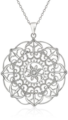 Large Floral Filigree - Sterling Silver Large Filigree Flower Pendant Necklace, 18
