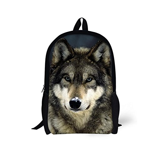 Freewander Casual Schoolbag Creative Personalized Animal Printed School Backpack (wolf-1) - Wolf Horse