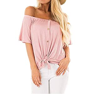 Ilfioreemio Women Casual Off-Shoulder Cardigan Soft Cotton Knot Front Swing Sleeves Solid Color T-Shirts