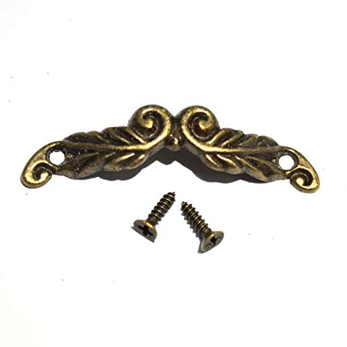 """10 Sets 1-3/43/8"""" Mini Vintage Bronze Knobs Antique Drawer Handles Pulls Decorative Floral Hardware with Screws for Jewelry Case Gift Wine Wooden Box Furniture ()"""