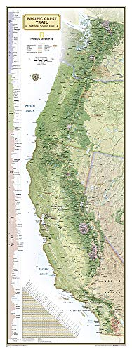 National Geographic: Pacific Crest Trail Wall Map Wall Map - Laminated (18 x 48 inches) (National Geographic Reference Map)