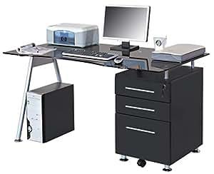 SixBros. Mesa de ordenador vidrio/negro - MBJ-01B/70 - Vidrio negro - Soporte MDF negro