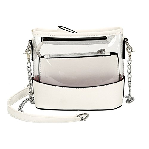 Youndcc Clear Cross-Body Messenger Bag Shoulder Bag Shoulder Purse Crossbody Purse with Inner Bag, Adjustable Metallic Strap, Transparent, Waterproof, NFL Stadium Approved (White)