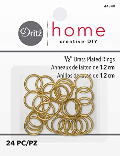 Dritz Home 44348 Brass Plated Rings, 1/2-Inch (24-Piece)
